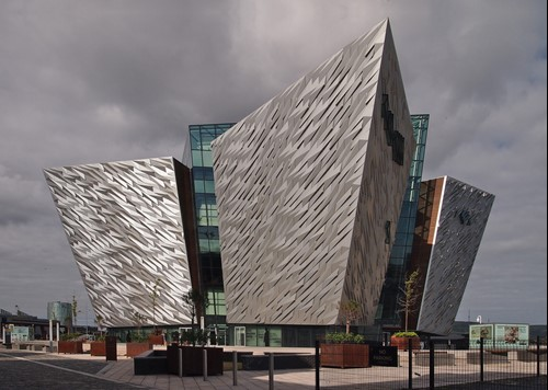 The Titanic museum in Belfast on a cloudy day