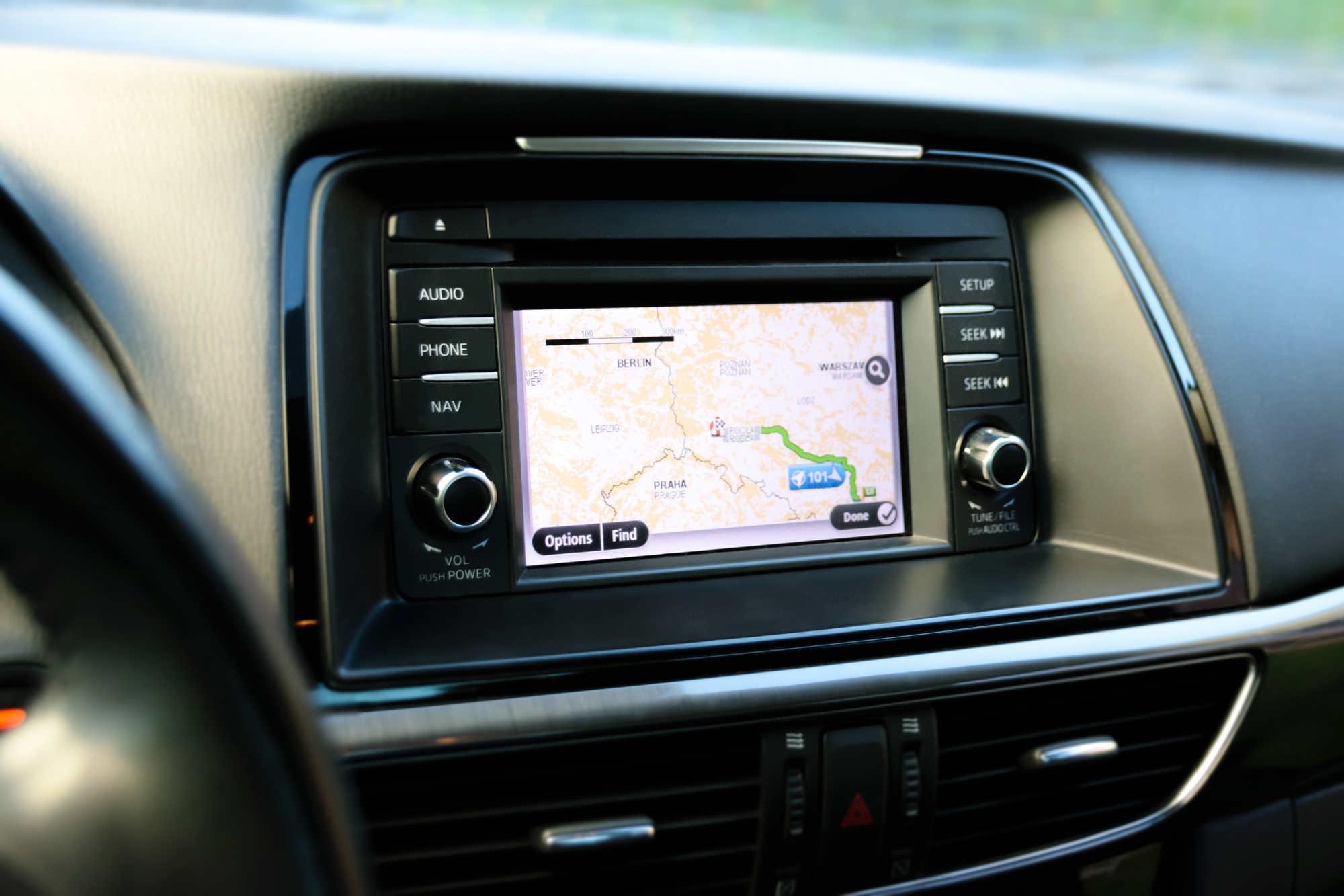 A GPS navigation system in the dashboard of a motorhome