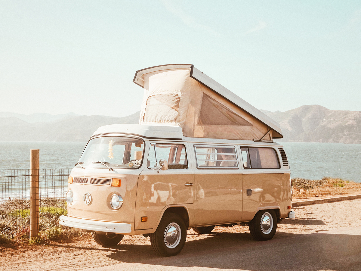 A campervan with its to ppopped