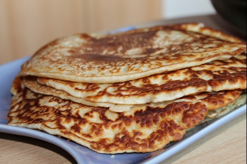 A plate of freshly cooked pancakes