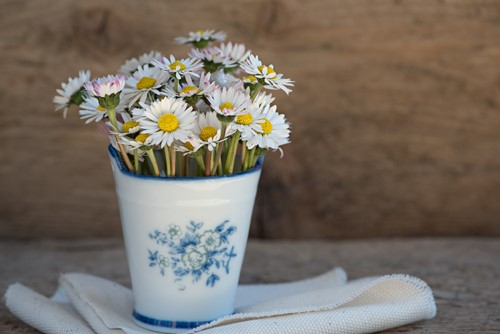 A metal vase filled with fresh daisies placed on a folded cloth