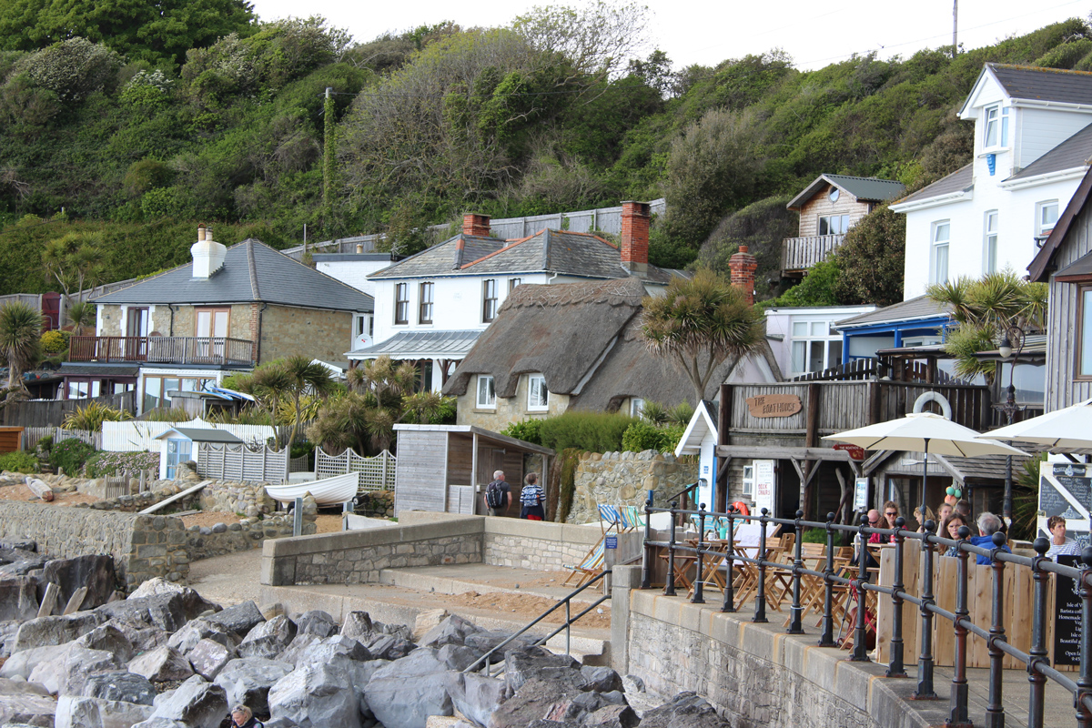 Small buildings built into a hillside on the Isle of Wight at Ventnor