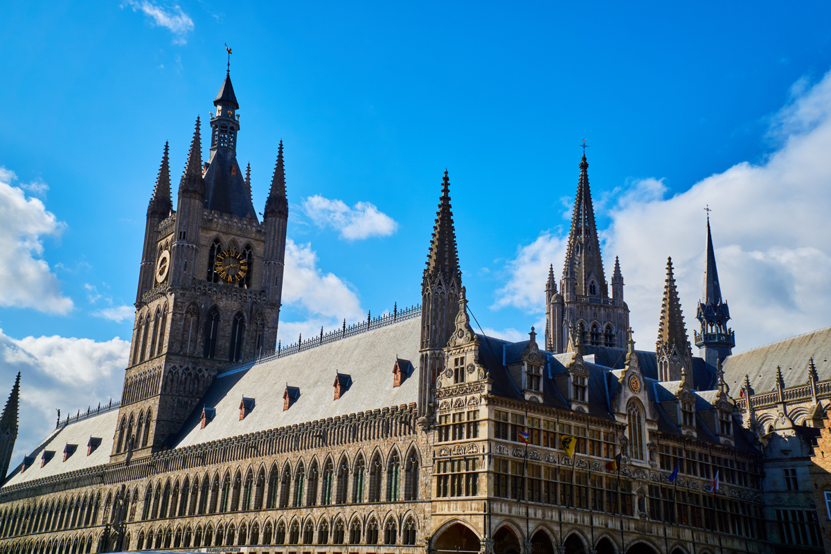 A large gothic cathedral at Ypres Belgium